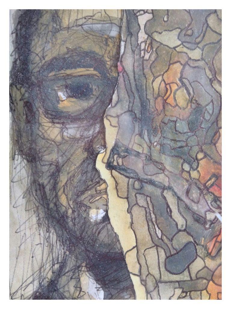 Aquarelle encre et collage sur papier (10 x 15).