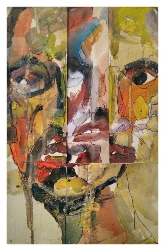 Acrylique encre et collage (20x30).