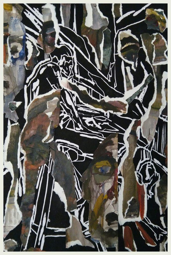 Gravure sur bois, acrylique, aquarelle et collage (30x45).