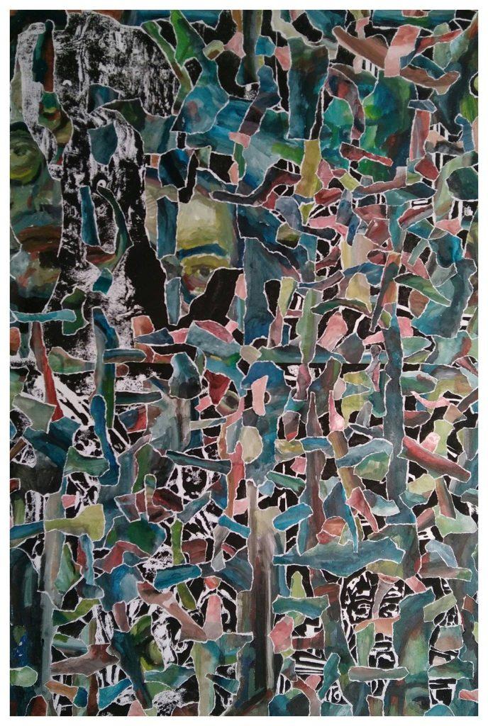 Gravure sur bois, acrylique et collages (60x90).