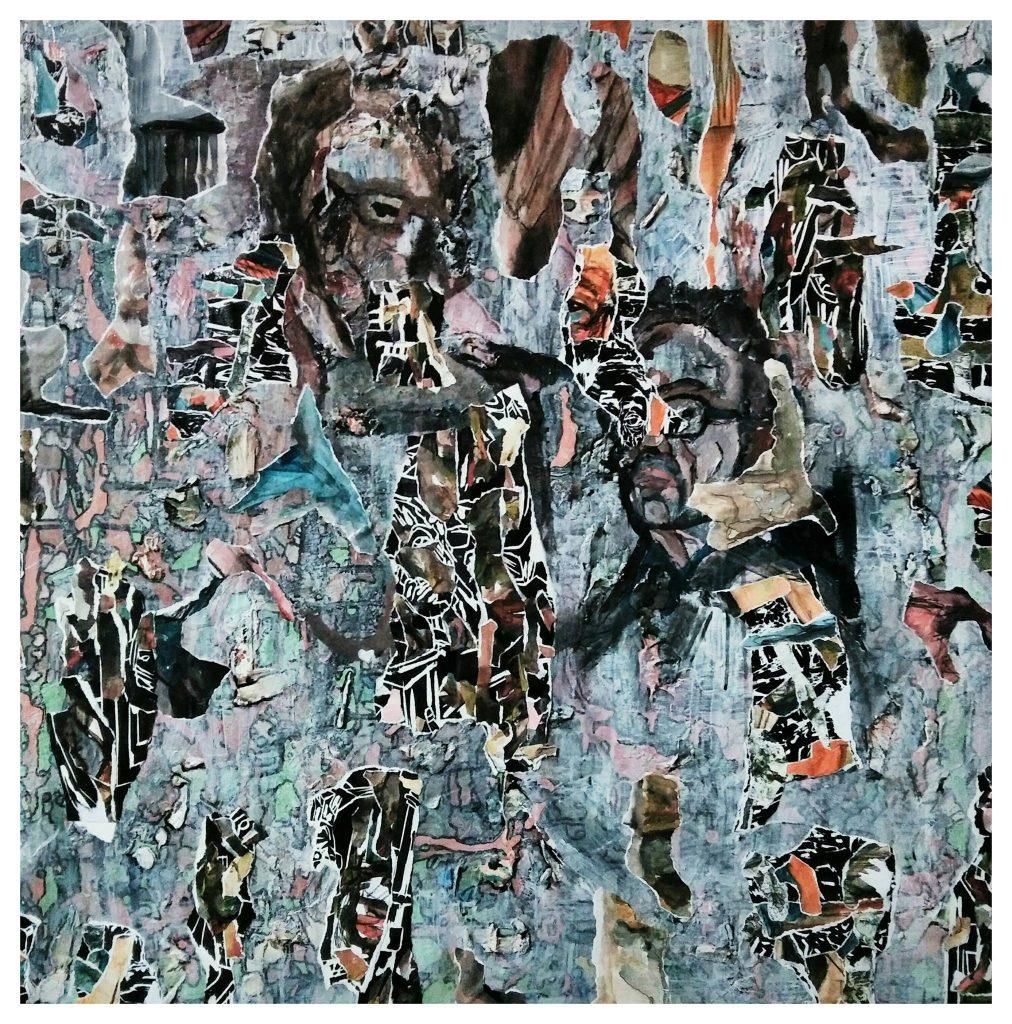 Acrylique sur toile, gravure sur bois plâtre et collages. (100x100).