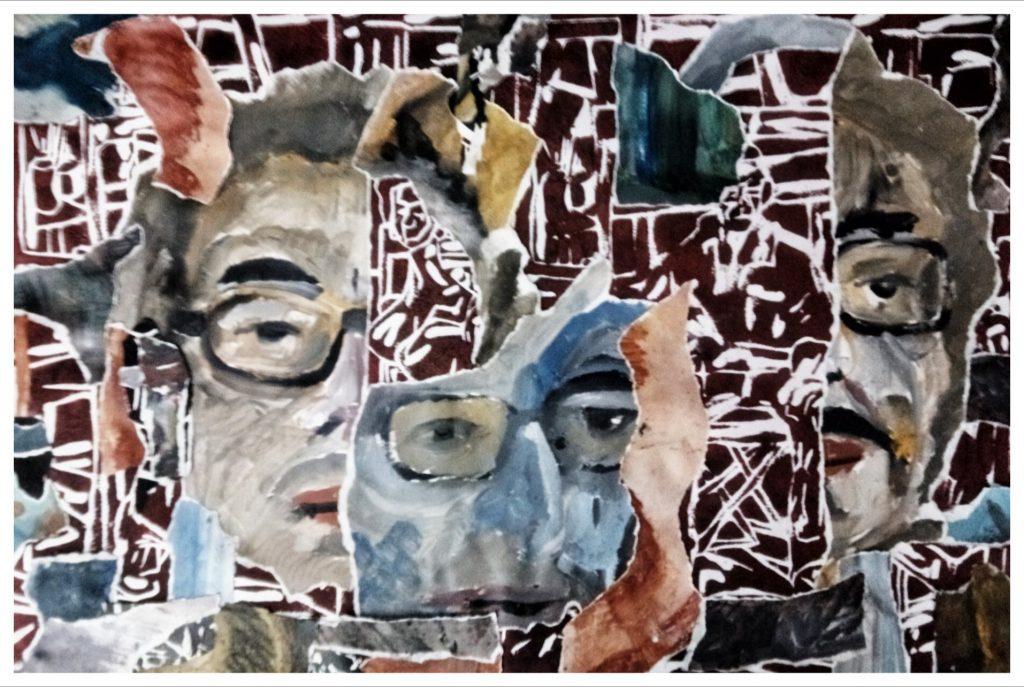 Linogravure, acrylique, peinture à l'huile et collages.