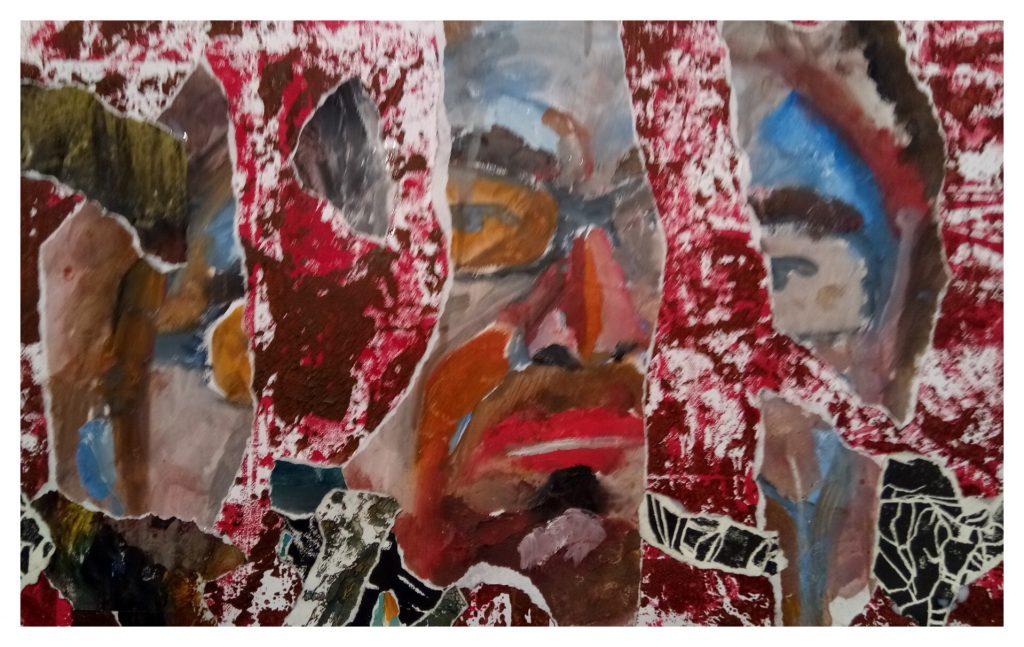 Peinture à l'huile, encre et collages.