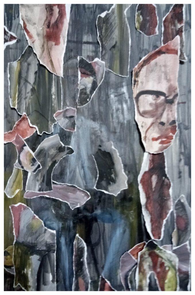 Peinture à l'huile sur carton bois et collages.