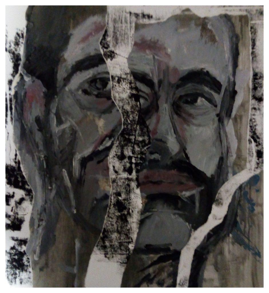 Linogravure, peinture à l'huile et collages.