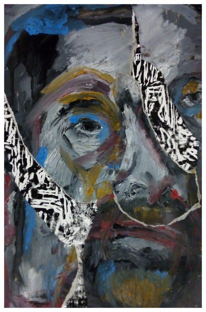 Gravure sur bois, peinture à l'huile et collages.