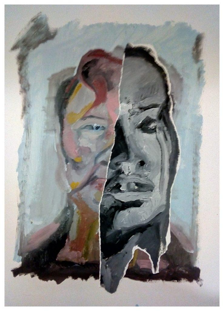 Peinture à l'huile sur papier et collages.