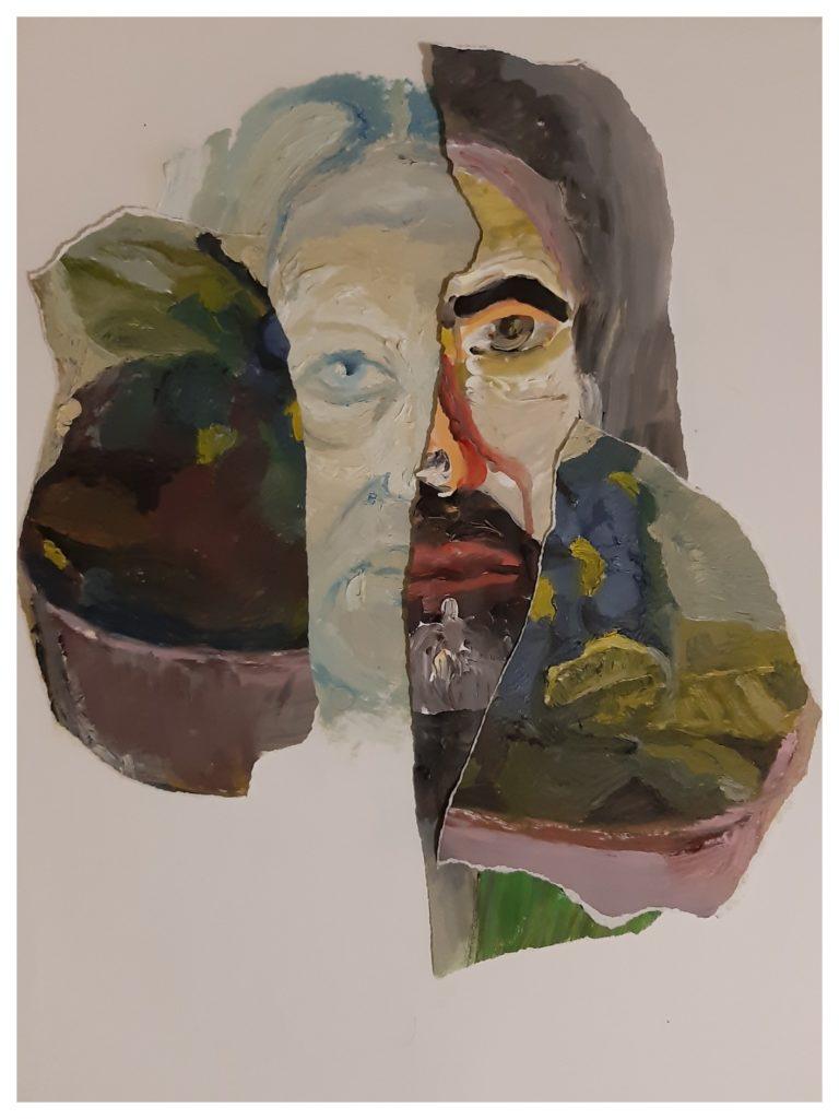 Peinture à l'huile et collages.