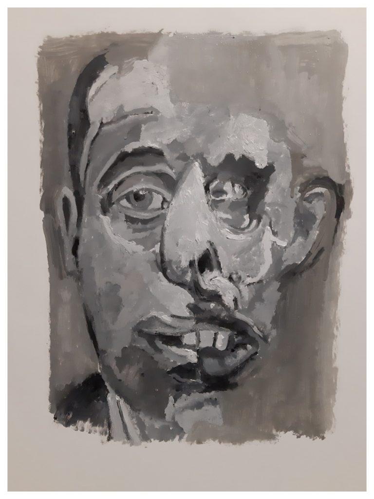 Peinture à l'huile sur papier (2020).