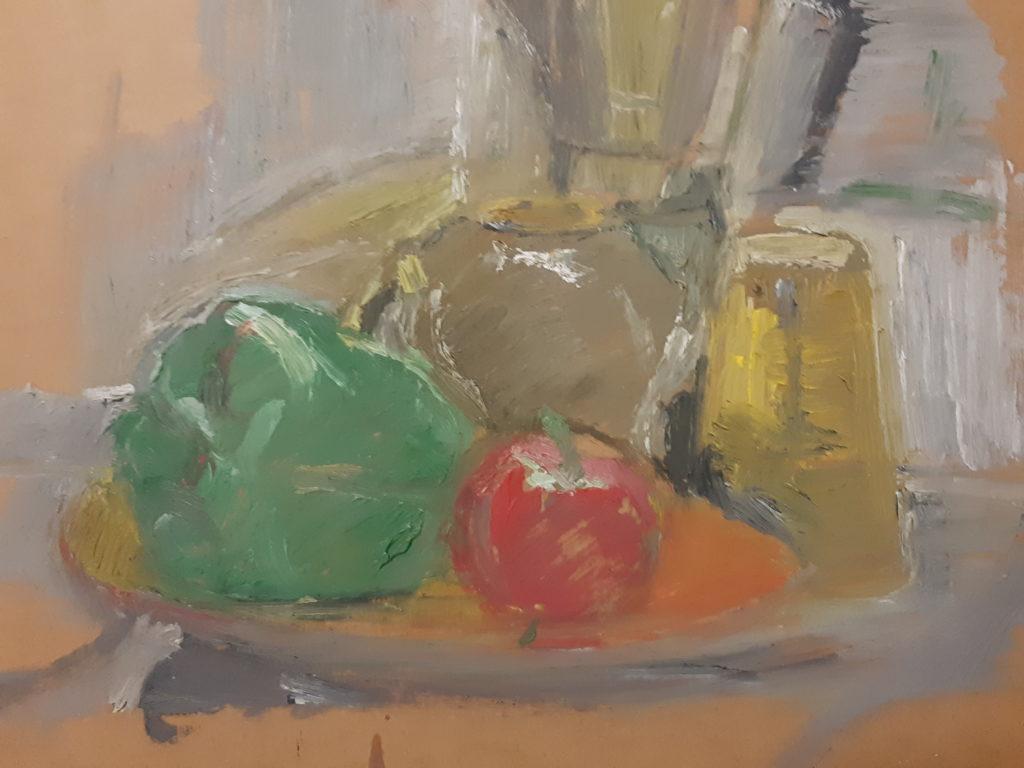 Peinture à l'huile sur carton.