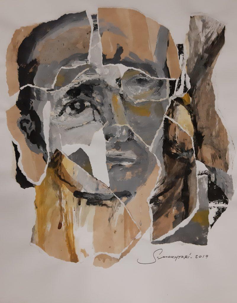 Peinture à l'huile et collages sur papier.