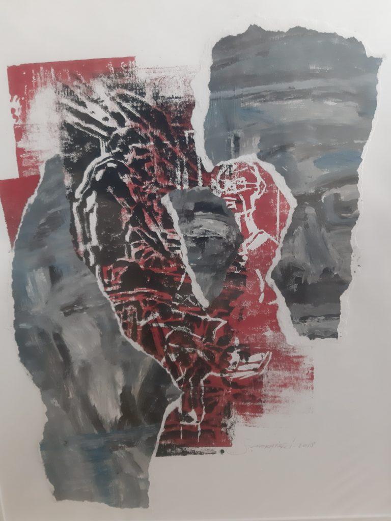 Linogravure, gravure sur bois, peinture à l'huile et collages.