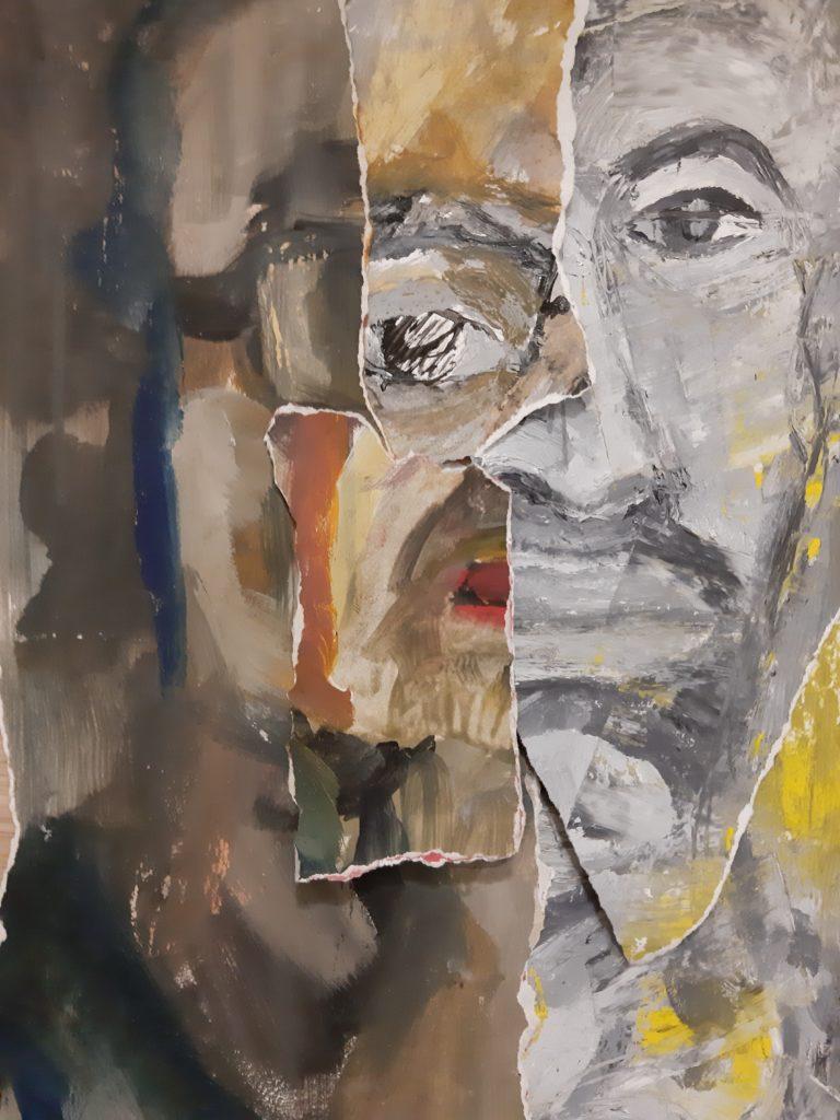 Peinture a l'huile et collages.