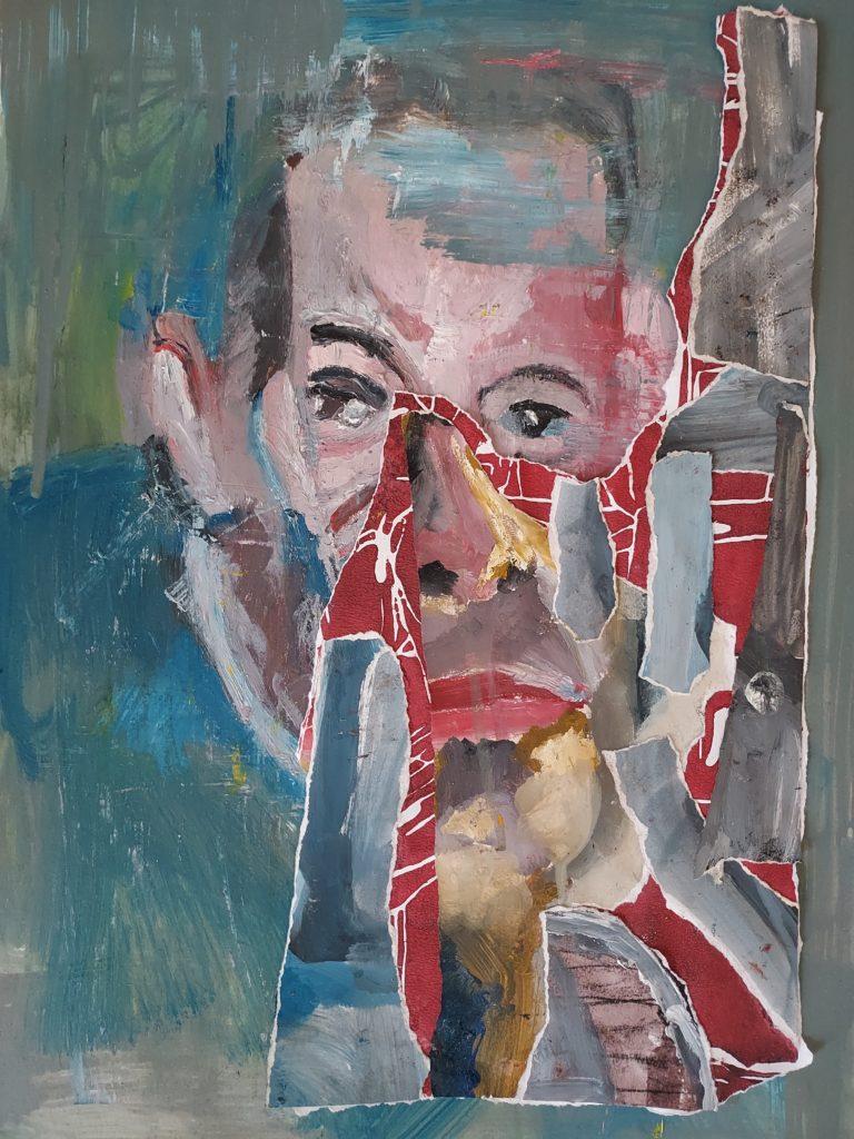 Peinture à l'huile et collage.